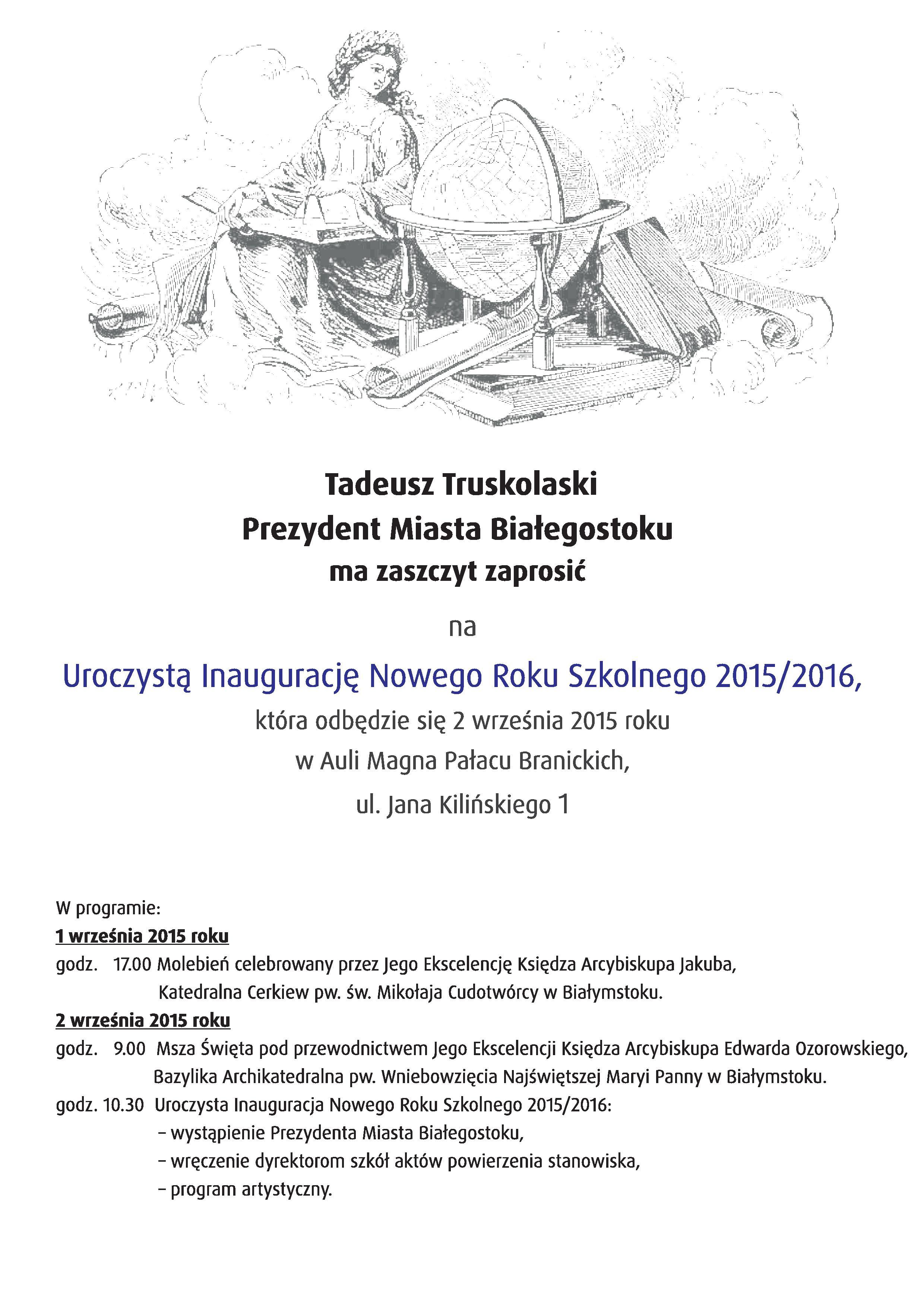 Zaproszenie Na Uroczystą Inaugurację Nowego Roku Szkolnego 20152016